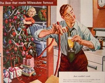 Vintage 1950 Wall Art Christmas Home Decor | Mid Century Schlitz Beer Print Ad | Beer Advertisement
