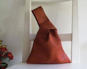 Caramel / Saddle / Tan Japanese Style Leather Wristlet / clutch / Pouch / Pocket