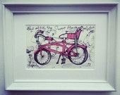 Pink Bike outside the Corner House, an original framed drawing by Andrea Joseph