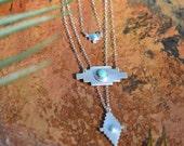 Turquoise Pendant, sterling silver, geometric, layering, necklace // KALAHARI NECKLACE