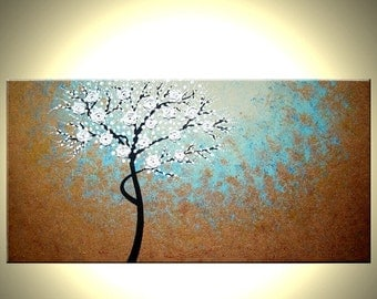 Original Abstract Tree Painting, TEXTURED Cherry Blossom Flowers, 2x4ft Abstract Metallic WHITE Impasto FLORAL, 24x48 by Artist Dan Laffert