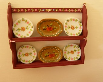 12th  scale miniature dollhouse  plate wall shelf /  plate stand hand painted in the Portuguese folk art style in burgundy background