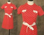 vintage 60s Mini Dress - 1960s Mod Red Heart Novelty Print Dress Sz S