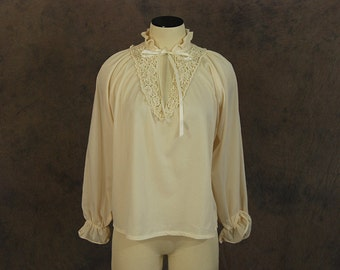 vintage 70s Peasant Blouse - 1970s Boho Sheer Ivory Balloon Sleeve Poets Blouse Shirt Sz M L XL