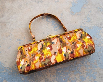 vintage 1960s Purse - 60s Fall Watercolor Floral Tapestry Bag - Satin Handbag