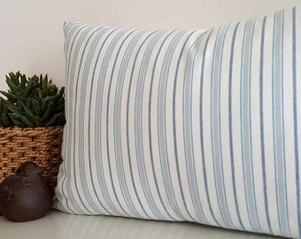 Striped Cottage  Pillow Cover, White Blue Striped Pillow, Ticking Striped Pillows, Beach House Cushions, Summer Cottage Decor, 12x18, NEW