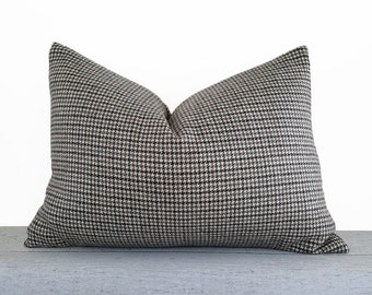 Brown Grey Houndstooth Pillow Covers, Grey Brown Cream Plaid Pillow, Textured Wool Pillow, Plaid Cushion, Cabin Decor, 14x20 Lumbar