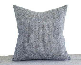Blue Tweed Pillow Covers, Light Blue Pillow, Blue Tan Grey Cream Pillow, Wool Textured Pillows, Blue Throw Pillows, 16x16, 18x18