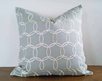 Silver Grey Pillow Cover, Pale Grey Pillows, Embroidered Silver Links Circles, Gray Accent Pillows, Modern Mens Home Decor 12x20, 18, 20