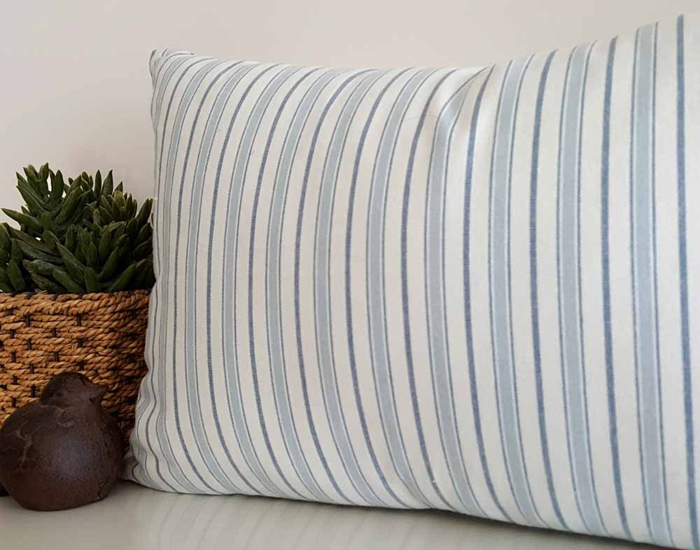 Striped Cottage Pillow Cover White Blue Striped Pillow