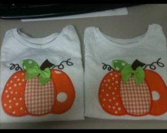 Pumpkin Appliqued shirt  #pumpkin,#fall, #Thanksgiving