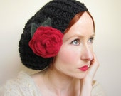 Black Knit Beret With Red Rose