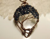 Wire Wrapped Tree of Life Pendant, Sapphire Colored Jade I Iolite Canopy Beads Handmade Jewelry Copper Wire Tree Perfectly Twisted