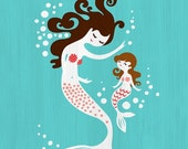 """40% OFF EVENT 8X10"""" mermaid mother & daughter giclee print on fine art paper. teal, coral pink, dark brunette, texture."""