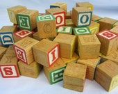 Vintage Playskool Toy 1974 Small Alphabet Wood Letter Number Blocks Shapes Child Collectible Red Blue Green Yellow USA Original Crafting