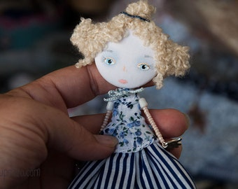 Young Princess, Art Doll Brooch, mixed media collage, gift for her