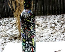 Incense Burner, Smoking Bottle, Recycled Bottle, Incense Holder, Hand Painted, Zentangle, Black with a Touch of Color