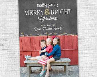 Custom Photo Christmas Card - Bright Lights