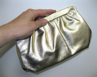 Vintage 1960s Gold Lame Glam Prom Wedding Clutch Purse