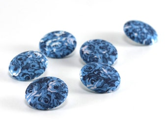 Fabric Buttons - Blue Roses, 6 Medium Blue Floral Romantic Fabric Covered Buttons for Sewing Knitting, Country Cottage Roses