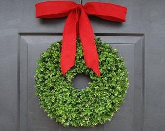 FALL WREATH SALE Custom Artificial Boxwood Christmas Wreath with Designer Ribbon- Holiday Decor- Christmas Decoration- Christmas Gift