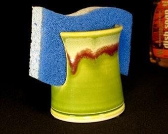 Kitchen Sponge Holder - Sink Sponge Keeper - Green Sponge Caddy - Ceramic Sponge Dish - Pottery Spongeholder - In Stock
