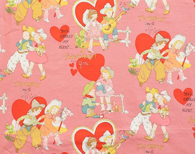 Children's Fabric by Alexander Henry Monkey's Bizness I'm Roping You'll be Mine Pink Western Cotton Fabric