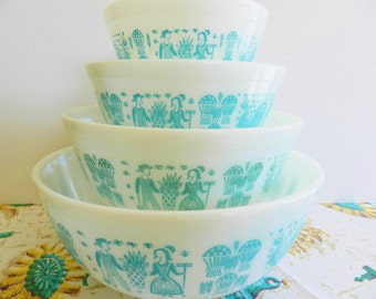Pyrex Butterprint Bowls, 1950s Pyrex Amish Bowl Set, Turquoise Pyrex Bowls, Aqua Pyrex Butterprint Bowls, Pyrex Mixing Bowls
