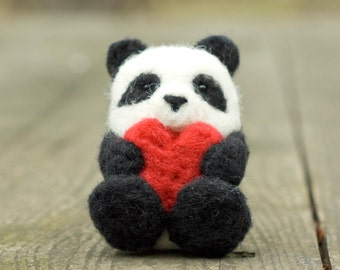 Needle Felted Panda - With Heart