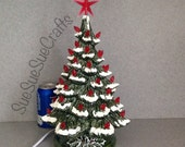 Traditional  Green and Red Ceramic Christmas Tree with Snow ......15 inches Tall   ...  Ready to ship. #15green\red\snow