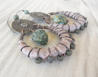 Silk Wrapped Hoop Earrings, Tribal, Bohemian, Gypsy Hoops, Pale Mauve, Eco Friendly Handmade Jewelry