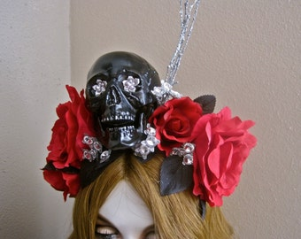 Day of the Dead Headpiece Skull Headband RED Roses for a DEAD LADY: Black Leaves Silver Glitter Branches Big Rhinestones Ode to Frida Kahlo