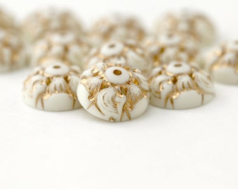 Vintage Lucite Gold Ivory Ornate Etched Bead Caps 13.5mm (12)