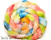 SERENE - Merino Bamboo Combed Top Blend - Hand Painted Wool Roving - Hand Dyed for Spinning or Felting - 3.9 oz