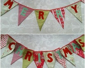 Special Order for Nia Merry Christmas Banner Bunting Red and Duck egg fabrics