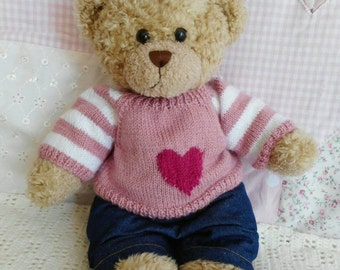 Build a Bear Pink winter jumper and blue jeans hand knitted pink and white stripe and star pattern Custom made to order