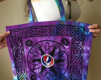 Goddess Grateful Dead Steal Your Face Deadhead Canvas Tie Dye Tote Bohemian Hippie Handbag Bag