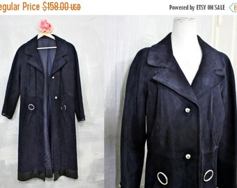 On Sale Mod Suede | Amazing Vintage Navy Blue Suede with Black Leather Trim Full Length Jacket | Swinging 1960s | Womens Lg | Waist 32 | Twi