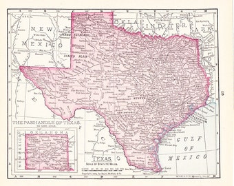 1908 State Map Texas - Vintage Antique Map Great for Framing 100 Years Old