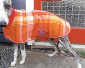 plaid in orange and red...winter coat for a whippet