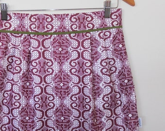 maroon and white...vintage fabric straight high waist skirt with pockets
