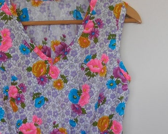 floral in neon brights...vintage fabric summer sleeveless dress with pockets