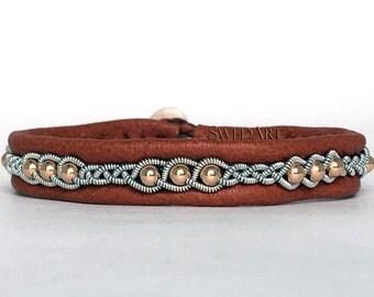 SwedArt B175 Rose Gold Lapland Sami Reindeer Leather Bracelet with 14K Rose Gold-Filled Beads and antler Button, Tan LARGE