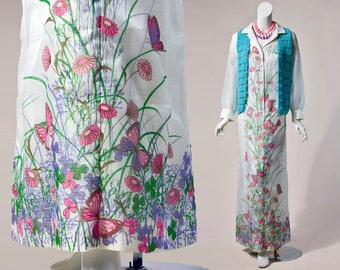 70s Alfred Shaheen white, butterfly screen print chiffon overlay maxi dress – sheer sleeves | large