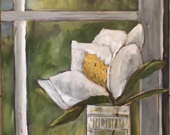 Magnolia in the Window Sill original still life painting
