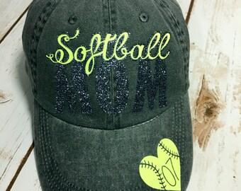 Custom Softball Mom Ballpark Hat in Smoke Color Washed Anvil Brand Baseball Hat