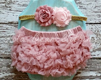 Dusty Rose Baby Bloomers Light Pink Headband Set Take Home Outfit Newborn Photography Cake Smash