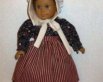 Prairie Dress, 18 Inch Doll, Stars Stripes, Sun Bonnet Apron, Historical Costume, Pioneer Outfit, American Made, Girl Doll Clothes