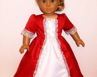 Sparkling Red, Princess Dress, 18 Inch Doll, Long Historical, Costume, Special Occasion, American Made, Girl Doll Clothes