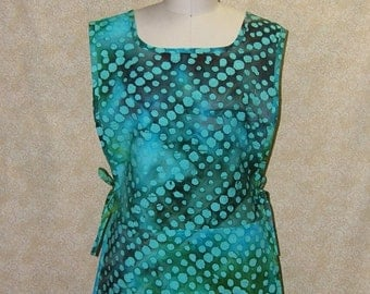 Apron Sea Glass Tunic batik print cobbler cotton 2 section pocket side ties unlined top stitched turquoise aqua sea weed brown smock style